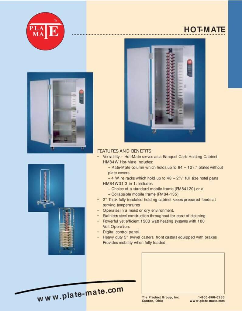 PlateMate Hot Mate Spec Sheet
